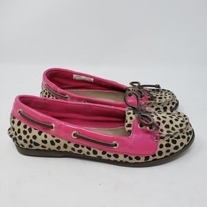 Girls Sperry slip on boat shoes leopard pink 2